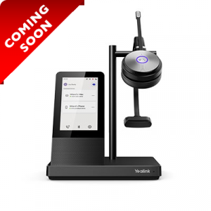 WH66-MONO | Yealink DECT Wireless On-Ear Mono Headset with Touch Screen Base Station - On Base Station